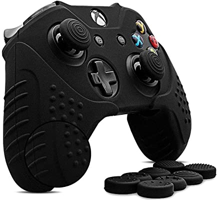 CHINFAI Xbox One Controller Silicone Skin Case Anti-slip Protective Grip Cover for Xbox 1 with Thumbstick Caps Set (Black)