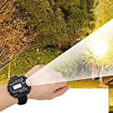Lampe de poche LED montre-poignet lampe torche rechargeable étanche lumière portable montre-poignet lumière pour le camping, l'escalade, la chasse(black)