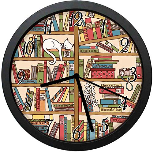 YiiHaanBuy Nerd Book Lover Kitty Sleeping Over Bookshelf in Library Academics Feline Cosy Boho,12-inch Round Decorative Wall Clock,Silent Non-Ticking,Decorating Each Room,is The Best Gift