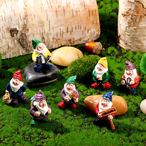 Jetec 7 Pieces Gnomes Fairy Resin Statues Miniature Fairy Garden Mini Gnome Statue for Table and Garden Decoration for Holiday Festival Garden Decoration, Relatives Friends Kids
