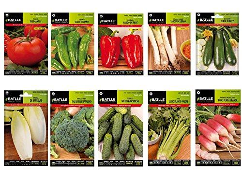 Semillas huerto lote 10 sobres (Tomate, Pimiento italiano, Pimiento rojo, Calçots, Calabacin, Endivia, Brócoli, Pepinillo, Apio, Rabanito)