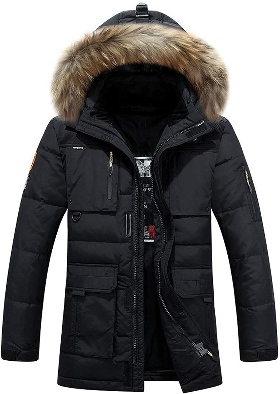 New Down Jacket, Men's Casual Short Hooded Jacket with Large Fur Collar, Winter Outdoor Cold Warm Clothing (color   Black, Size   XL)