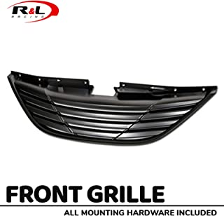 R&L Racing Matte Black Finished Front Grill 2010-2013 For Hyundai Sonata | Horizontal Style Hood Bumper Grille Guard Cover ABS New Replacement, MPN: HY1200154