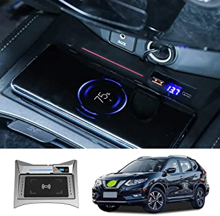 Car Wireless Charger Mount fit for Nissan Rogue 2015-2019,Output of 10W QC 3.0 Fast Charging Compatible with iPhone,Samsung,USB Port 36W Wireless Charging Devices
