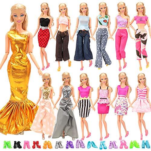 Miunana Lot 20 = 10 modische Partymoden Urlaubstag Kleidung Kleider Outfit + 10 Schuhe für 11,5 Zoll Mädchen Puppe Xmas Weihnachten Geschenke