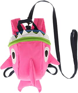 Baosity Cartoon Shark Shape Schoolbag Anti-Lost Bag Kids Baby Safety Harness Backpack - Pink, as described