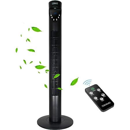OZAVO Ventilateur Colonne Silencieux 97cm, avec Télécommande & Minuterie Ventilateur Tour Oscillation Sans Pale Affichage LED - 3 Modes et 3 Vitesses - Noir