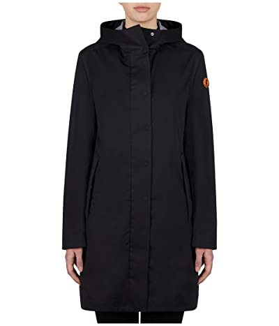 Save the Duck Bark X Long Hooded Coat (Black) Women