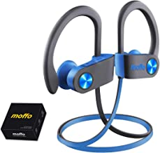 Wireless Headphones, Moffo IPX7 HiFi Bass Stereo in Ear Sport Sweatproof Earbuds Noise Cancelling Headset with Built-in Mic for Sport Gym Running Workout 8 Hrs (Grey&Blue)