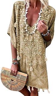 d097603179879 ORANDESIGNE Robe Été Femme de Plage Rétro Robes Col V Manches Courte Casual  Tuniques Ample Robes