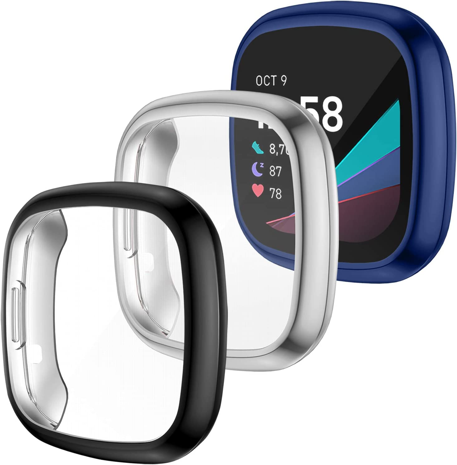 LORDSON 3-Pack Screen Protector Gorgeous Case Compatible Don't miss the campaign Fitbit Sens with