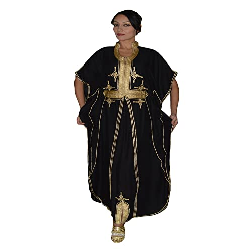 7b2824393d5 Moroccan Caftan Hand Made Breathable Cotton with Gold Hand Embroidery Long  Black