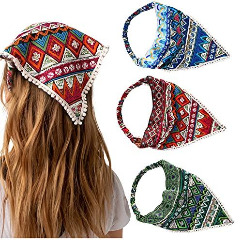 Floral Elastic Hair Kerchief Headband - 3PCS Hair Bandanas Non slip Scarf Headbands Print Floral Hair Scarves with Hair Clips Kerchief
