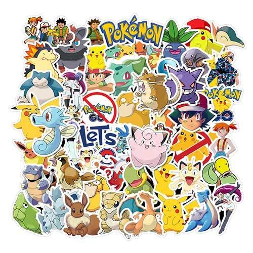 KOWASO Autocollants de Dessin Pokémon [50pcs], Autocollant de Monstres d'animaux Mignons pour Les Enfants Adolescents, Décalcomanies Vinyle Graffiti pour Bagages de Vélo pour Ordinateur Portable