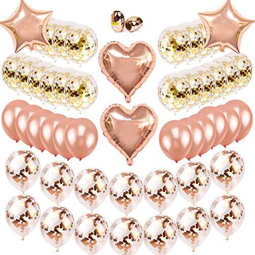 SPECOOL Globos de Confeti de Oro Rosa Globo de Fiesta Globos de látex Globos de lámina con Cuerdas de Rollos para Cumpleaños Boda Baby Shower graduación