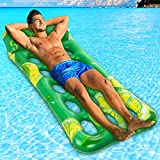 Sunbathing Floating Pool Lounger, Inflatable Water Contour Portable Tanning Pool Float Multipurpose Swimming Pool Mattress for Adults with Premium Material Water Hammock Ideal for Seaside, Lake, Pool