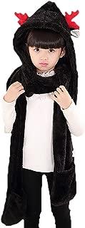 PULAMA Novelty Animal Hat Cosplay Cap - Unisex Fit Adult & Children- Soft Warm Headwraps Headwear with Mittens (Winter Hat Black)