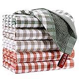 EliteBond - Paños de algodón para lavar platos, trapos de cocina de rizo de algodón absorbente con estampado de cuadros, juego de 6 de 33 x 33 cm