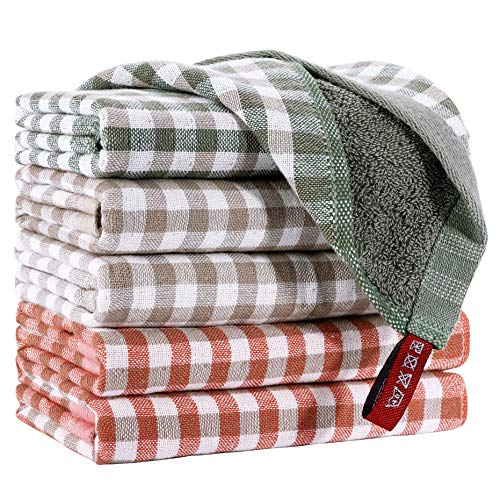 EliteBond - Paños de cocina de algodón para platos, paños de cocina, algodón, tela de rizo absorbente a cuadros, 6 juegos de trapos de...