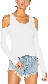 Bestisun Women's Open Shoulder Tee Thumb Hole Long Sleeve Blouses Cute Casual Shirt