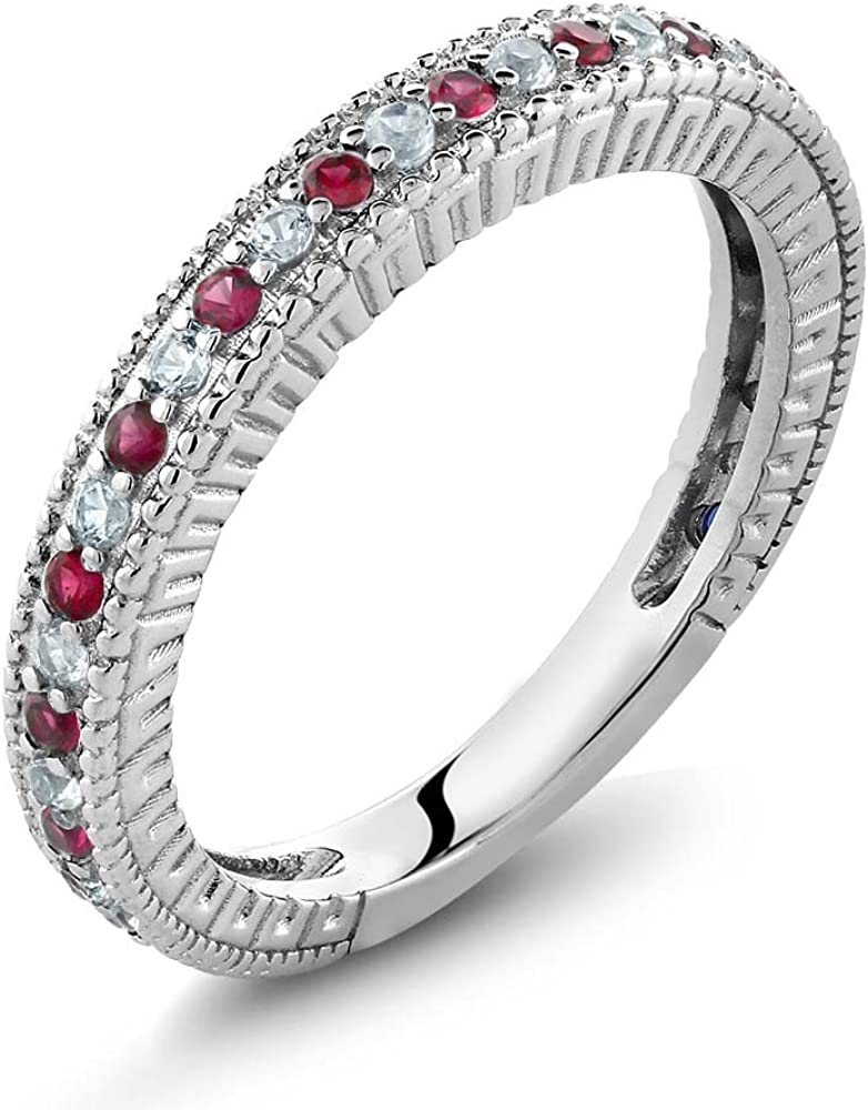 Gem NEW before selling Stone King 925 Sterling Silver Red White and Cr New products world's highest quality popular Ruby Created