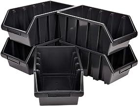 5 cajas de almacenamiento para herramientas de 8 litros, color negro
