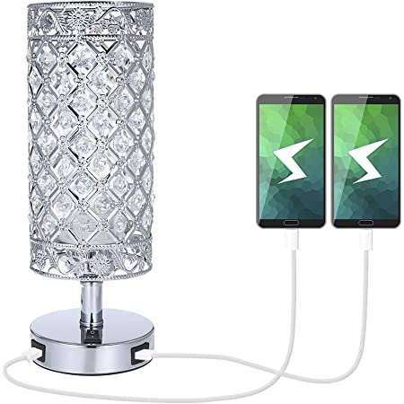Tomshin-e Crystal Bedside Table Lamp with Dual USB Port (Sliver)