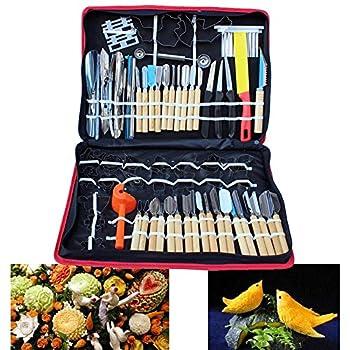 80pcs Kitchen Carving Tools Kit Vegetable Fruit Food Peeling Carving Tools Dining Cutlery Kitchen Garnishing/Cutting/Chisel Garnish Tools Kit with Hand Box  USA Stock