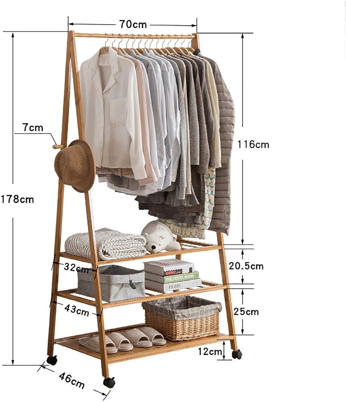Coat Rack Floor Simple Modern Coat Rack Floor Bedroom Hanger Simple Bamboo Clothes Rack Mobile Racks (Size   70CM)
