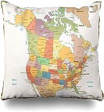 Snbin Funda de Almohada Funda de Almohada Color Retro de California Mapa político Estado de los Estados Unidos Canadá Norte de Estados Unidos Viejo México Funda de cojín del Golfo