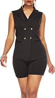 Salimdy Women's Sleeveless Buttons Blazer Jacket Top Shorts Set Office Formal 2 Piece Outfits Jumpsuits Suit