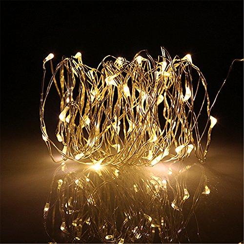 BUYERTIME 5M/16.4Ft 50 LEDs Cadena de Luz Impermeable Luces de Hadas Guirnalda Luces para Iluminación Habitacion Navidad Fiesta Interior Decoración - Blanco Cálido