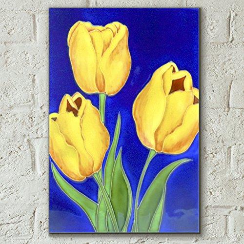 Tre tulipani by Rafuse decorativo in ceramica piastrella immagine 8x 12Home Decor Kitchen Wall Plaque Gift floreale