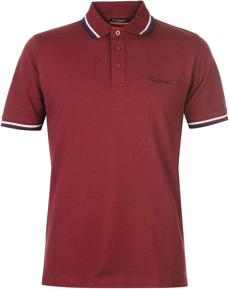 Pierre cardin, polo a manica corta, maglietta per uomo, 65% poliestere, 35% cotone, bordeaux B000413A