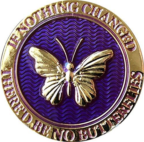 Wenn nichts geändert 'd Be ES KEIN Schmetterlinge Reflex lila vergoldet Medaillon Schmetterling Chip