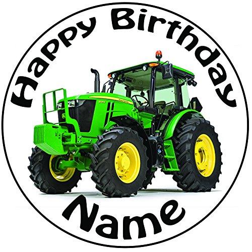 Personalisierter Grüner Traktor Zuckerguss Kuchen Topper / Kuchendekoration - 20 cm Großer Kreis - Jeder Name Und Jedes Alter