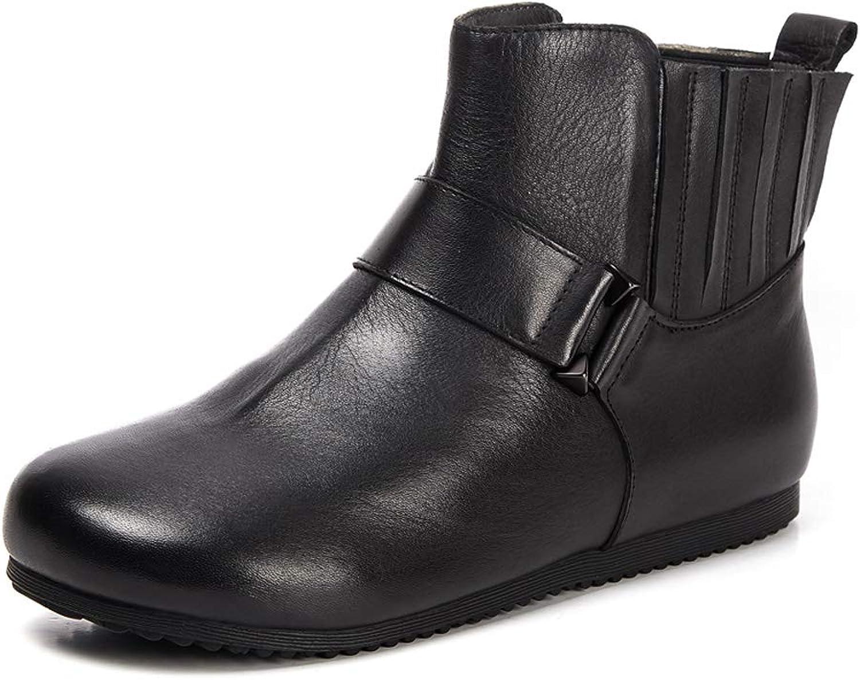 DANDANJIE Stiefeletten für Damen Vintage Comfort Flache Heel Schuhe Damen Stiefelies für 2018 Herbst Winter