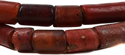 Cornaline d'Aleppo Venetian Trade Beads Cylinders African 26 Inch