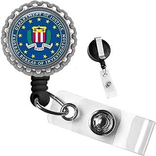 Department of Justice Federal Bureau of Investigation Silver Retractable ID Tag Badge Reel