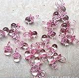 ABCMOS - Ciondolo a forma di mini bottiglia, in plastica acrilica trasparente, 50 pezzi, colore: Rosa