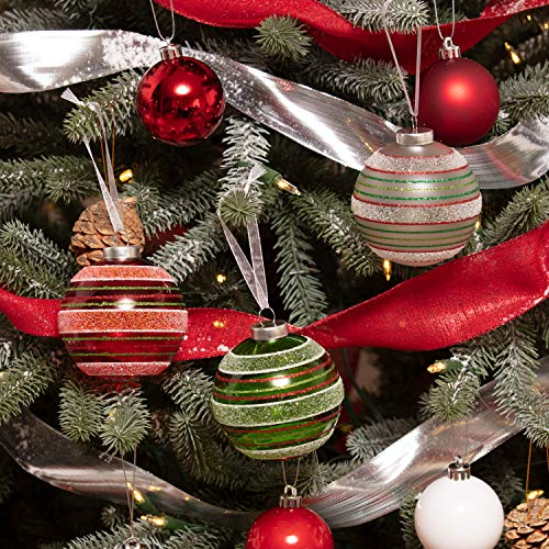Every Day is Christmas Set of 3 Glass Balls with Stripes Handemade Holiday Ornaments for Trees