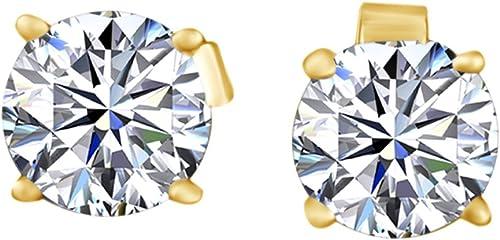 Rundschliff Weißnatürlicher Diamant OhrStücker Ohrring in 14  585 ißGold massiv (0,85 rat Gesamtgewicht)