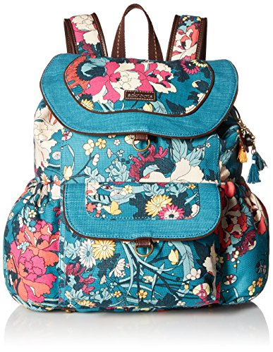 Sakroots Women's Flap Backpack, Teal Flower Power , One Size