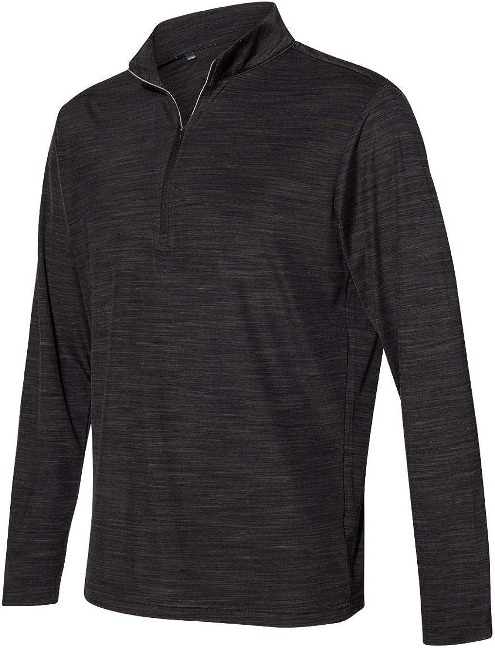 adidas Mens Lightweight Melange 市販 Quarter-Zip Pullover A475 -Bla 70%OFFアウトレット
