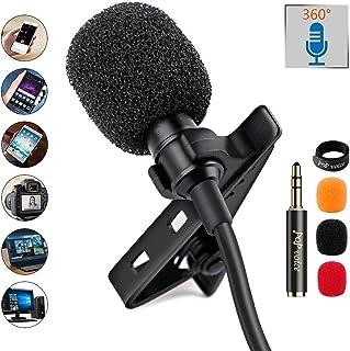 PoP Voice 12.8 Foot Lavalier Lapel Microphone Professional Grade Om Conditioner Micnidirectional Micro Mini Perfect برای ضبط لپ تاپ کامپیوتر شخصی پادکست آندروید