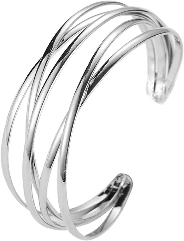 Bangle Bracelets For WomenFashion Women Multilayer Cross Bangle Bracelet Open Cuff Wrist Jewelry Gift