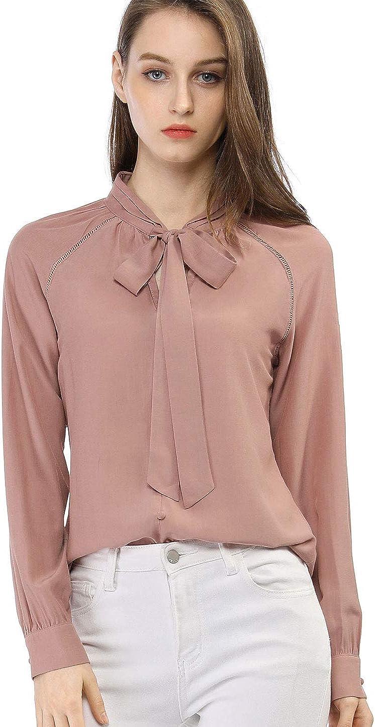 Allegra K Women's Work Office Shirt Long Sleeve Button Decor Bow Tie Neck Blouse Top