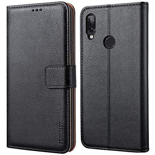 Peakally Handyhülle für Xiaomi Redmi Note 7 Hülle, Premium Leder Flip Hülle Tasche Schutzhülle Brieftasche Klapphülle [Kartenfächer] [Standfunktion] [Magnet] für Redmi Note 7-Schwarz