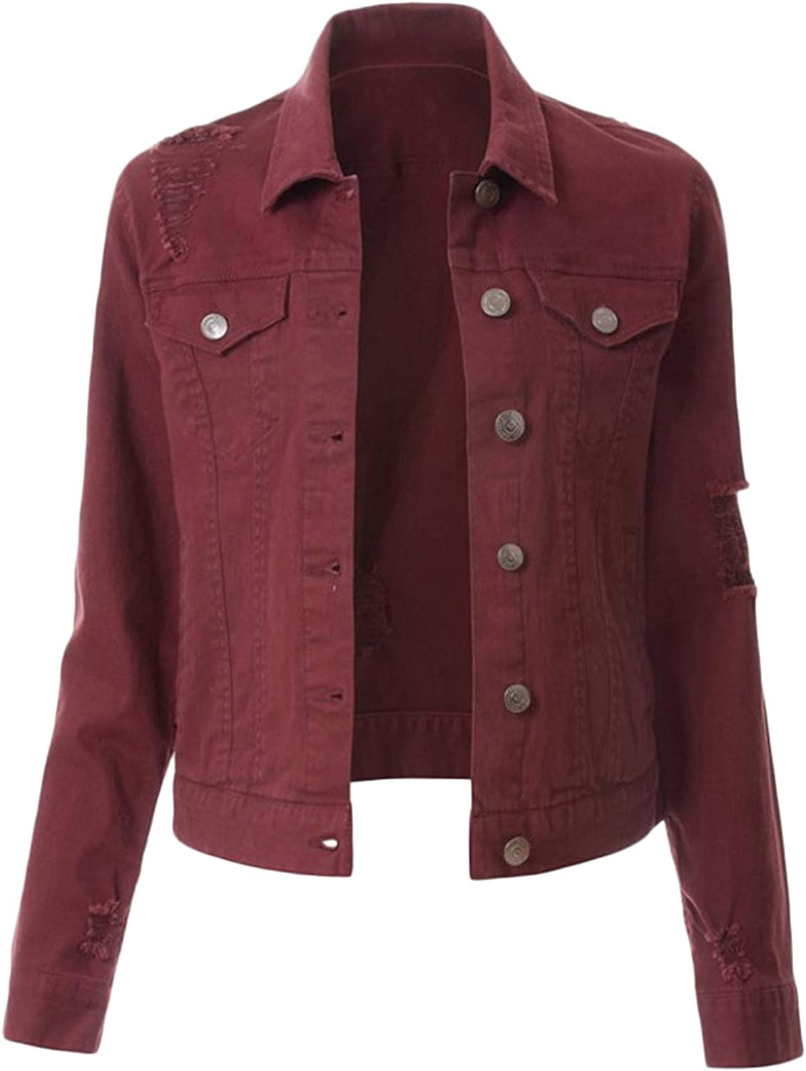Soluo Women's Casual Long Sleeve Button Down Denim Jacket Classic Stretch Lightweight Vintage Washed Boyfriend Coat (Red Wine,Small)