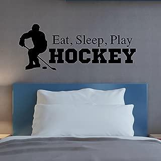 Eat Sleep Play Hockey Wall Decal, Hockey Quote Wall Decor, Hockey Wall Sticker, 36